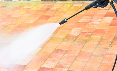 Pressure Washing a Paver Sidewalk